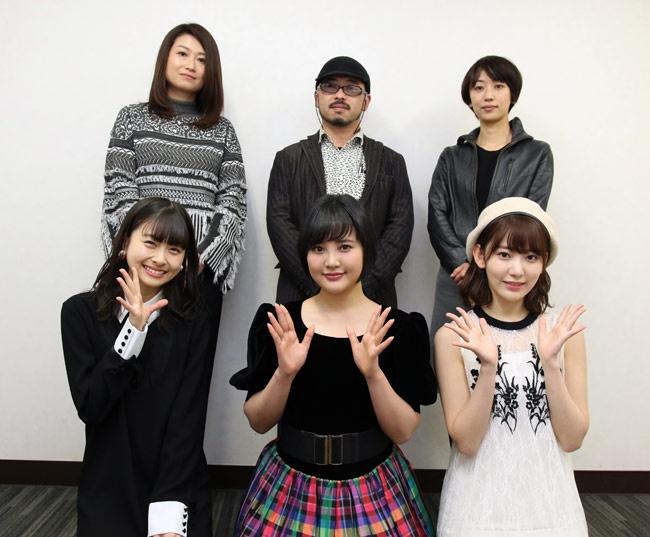 後列の監督陣は左から池田千尋、清水崇、横浜聡子、前列は左から松岡はな、兒玉遥、宮脇咲良