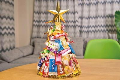 お菓子で作ったPOPなツリー作りに挑戦!