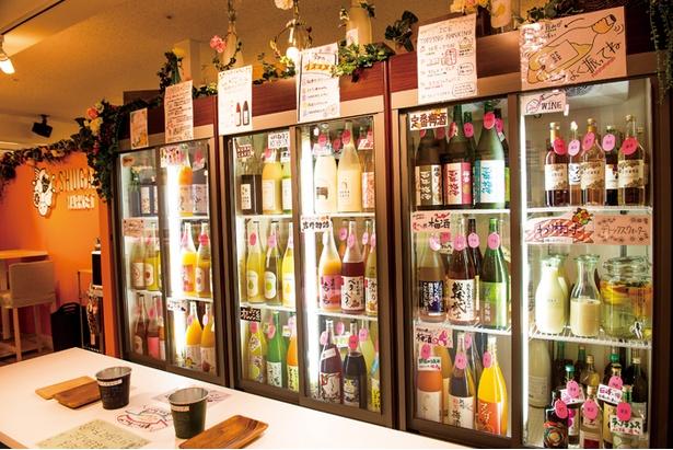 「SHUGAR MARKET」の冷蔵庫にはカラフルな果実酒がズラリ。少しずついろいろな味が楽しめるのもうれしい!
