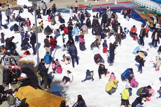 【写真を見る】1000トン以上の雪を使った雪の広場