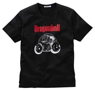 バイクに乗る悟空とブルマを描いた「ドラゴンボール」のTシャツ。カラーは写真のブラックのみ