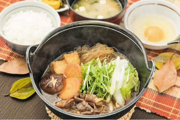 【宮原SA上】「あか牛すき鍋定食」(1280円)