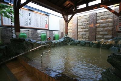 「源泉温泉」。地下1000mから湧出する源泉をかけ流しでたっぷりと使用/彩都天然温泉 すみれの湯