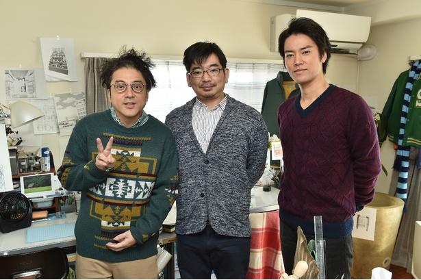 左から漫画家・スズキ次郎役のムロツヨシ、作画・漫画監修を務める甘詰留太、スズキの担当編集者・吉崎幸次郎役の桐谷健太