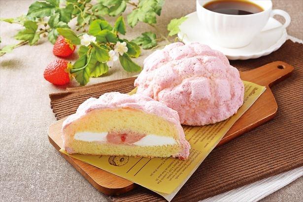 いちごカラーのメロンパン「いちごのメロンパン いちごクリーム&ホイップ」