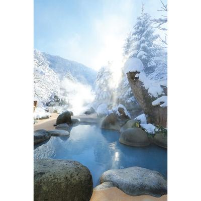 標高1250mの高地なので、3月末まで雪景色が見られる。4月中旬まで雪が降ることも!/ひらゆの森