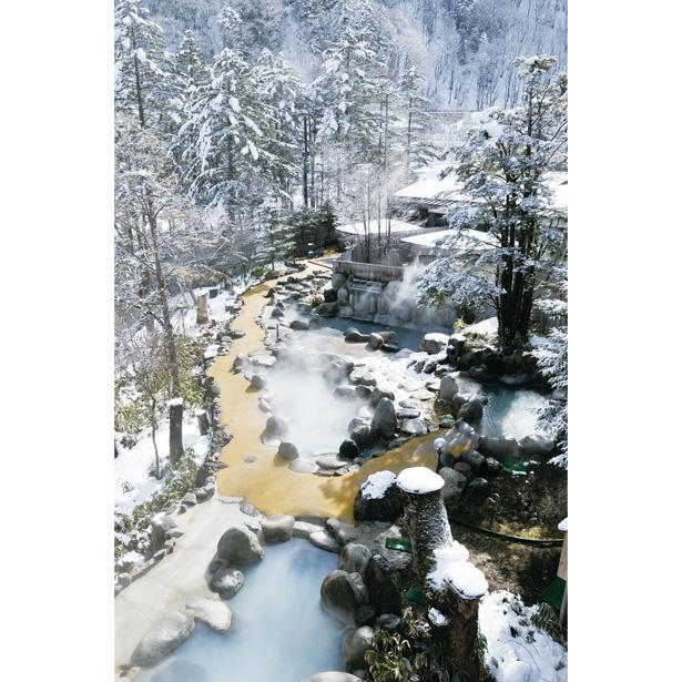 風呂ごとに湯の色や濁り方、温度が変わる。湯の花が浮かぶ濁り湯は秘湯情緒が満点だ/ひらゆの森