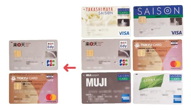 6枚あったクレジットカードは2枚に