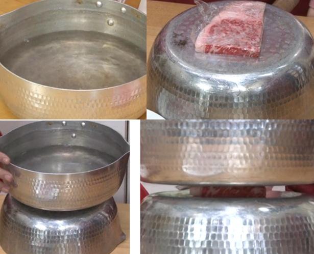 【写真を見る】火や電気を使わず、水と鍋だけで解凍できる