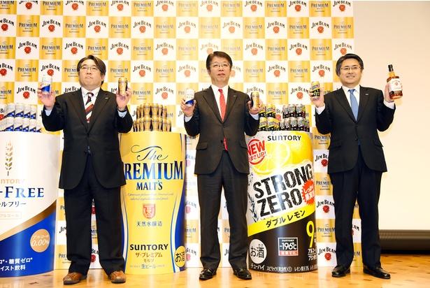 サントリービール代表取締役社長・山田賢治氏(写真中央)、ビール商品開発研究部部長・秀島誠吾氏(写真左)、サントリースピリッツ代表取締役社長・仙波匠氏(写真右)