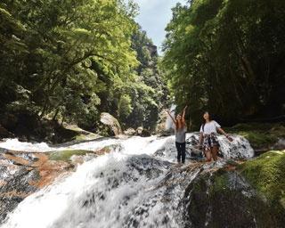 避暑の村の山奥を流れる 神秘的な名瀑で涼&癒し体験