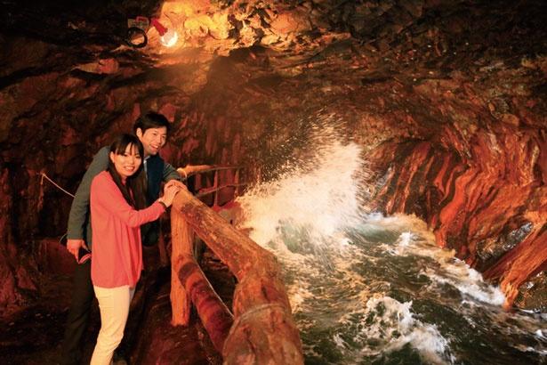 地下洞窟まではエレベーターでいっきに行ける。熊野灘から押し寄せる波が岩肌で砕け、迫力満点!