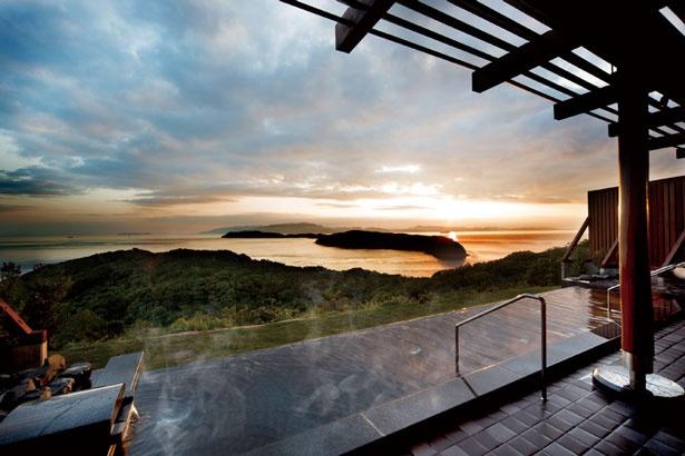 紀淡海峡の絶景が広がる天空の湯の屋外展望風呂。美肌の湯の天然温泉と絶景を満喫しよう