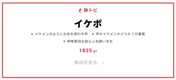 """1月10日の""""視聴熱""""デイリーランキング・熱トピでは「イケボ」をピックアップ"""
