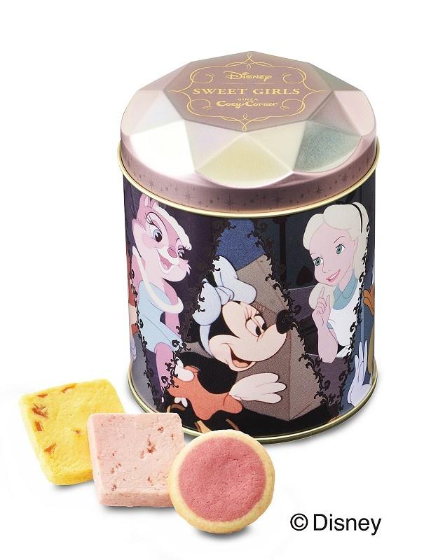 「<ディズニー>ガールズギフト缶(3種8個入)」(1080円)は、焼ショコラとクッキーの詰め合わせ