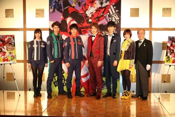 キャスト披露イベントに登場した7人。左から、奥山かずさ、横山涼、結木滉星、伊藤あさひ、濱正悟、工藤遥、温水洋一