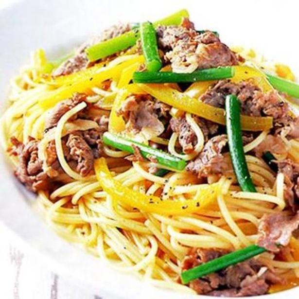 「牛肉とにんにくの茎のスパゲッティ」 レタスクラブニュースより