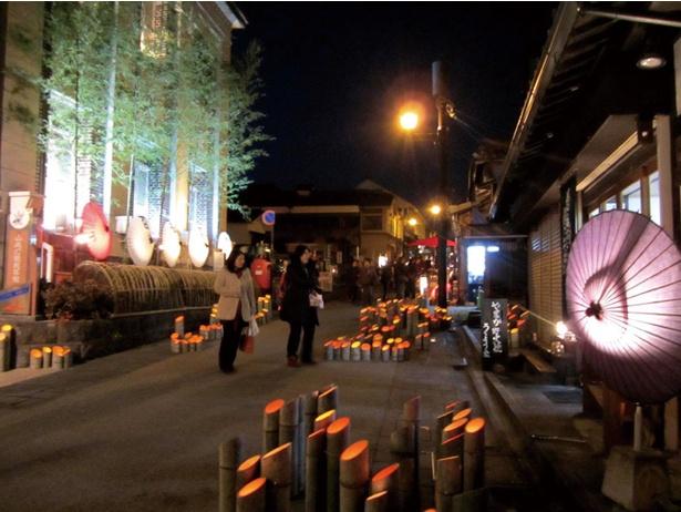 【写真を見る】竹と和傘が紡ぐ優しい灯りが街一帯を照らす