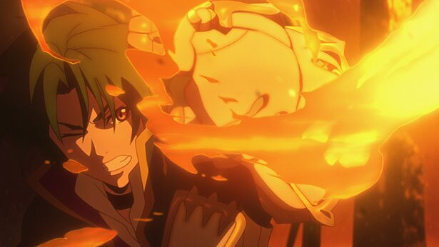 「グランクレスト戦記」第3話の先行カットが到着。炎のサラマンダーがシルーカに襲い掛かる!