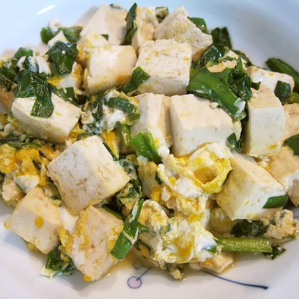 ニラと豆腐の卵とじ