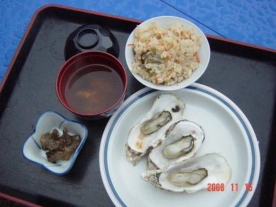 カキごはんとカキの味噌汁が付く牡蠣づくし