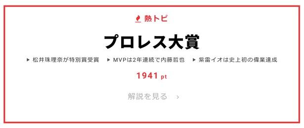 """1月18日の""""視聴熱""""デイリーランキング・熱トピでは「プロレス大賞」をピックアップ"""