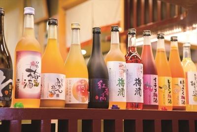 追加メニューの和歌山産の梅酒はロック水割り各540円。味に深みのある紅南梅やイチゴ梅酒など約10種