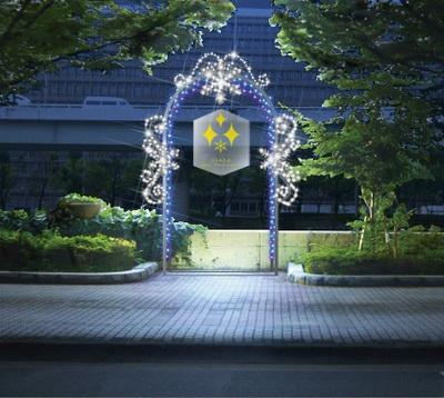 堂島川沿いの歩道には、クリスタルのオブジェが飾られた「クリスタルアーチ」が設置(イメージ)