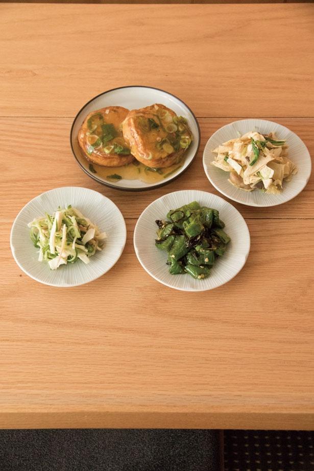 万願寺とうがらし昆布450円(右下)や、いかみょうが酢360円(右上)など、京都の食材がたっぷり