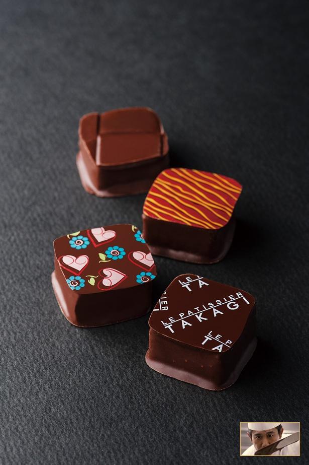 「ル ショコラティエ タカギ」の「ボンボンショコラ」( 1,242円/4個入り)。カカオ分72%のベーシックなチョコ「タカギ」、塩味のガナッシュ「塩」など、オリジナルショコラを使用した4種
