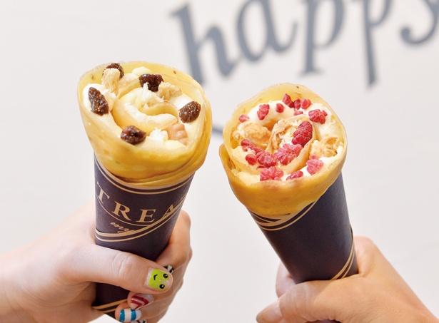 濃厚なバタークリームが絶品の「RAISIN&BUTTER」(650円・左)、ラズベリーが華やかな一番人気の「CARAMEL&CHEESE」(600円・右)/トリートマイセルフ