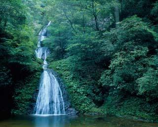 全長約62mにわたって、7段の階段状に水が流れ落ちる名瀑