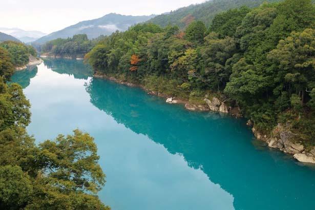 【写真を見る】ひすい色に輝く湖面を進む爽快感は格別だ/宮川ダム湖 観光船