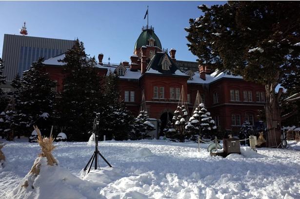 雪に覆われた北海道庁旧本庁舎(通称赤れんが庁舎)