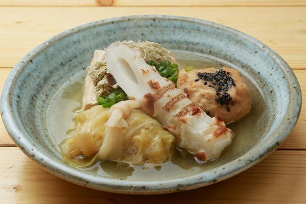 おすすめの「おでん」(豆腐250円、自家製がんもどき350円、ロールキャベツ350円、ちくわ250円)