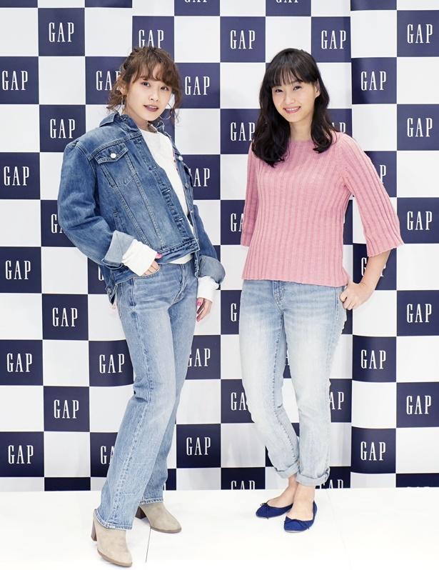 高橋愛と藤本美貴が「Gapストア三宮店 オープニングセレモニー」に出席