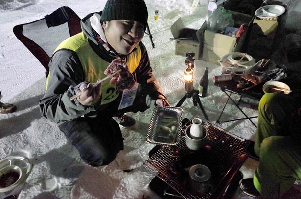 ジンギスカンの肉も凍ってそのままでは焼けません