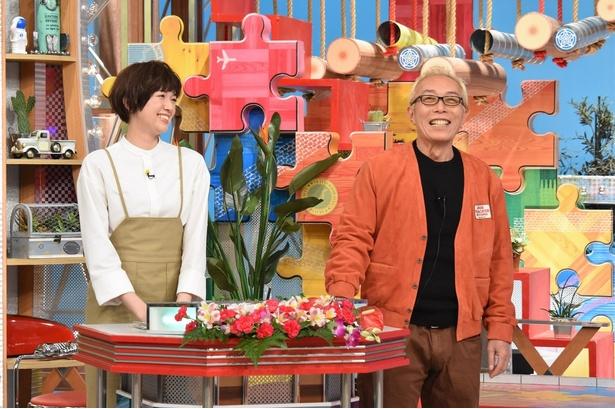 MCを務める所ジョージ(右)と佐藤栞里(左)