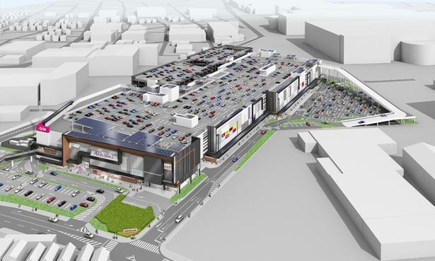 駐車場は2,500台、駐輪場は1,000台完備