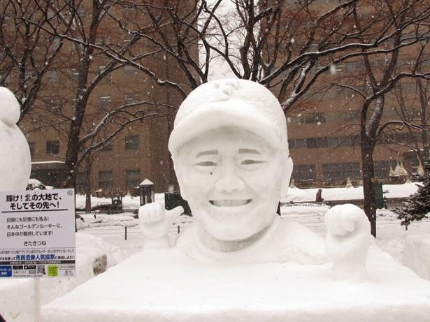 日本ハム清宮選手の雪像も。特徴をよくとらえています