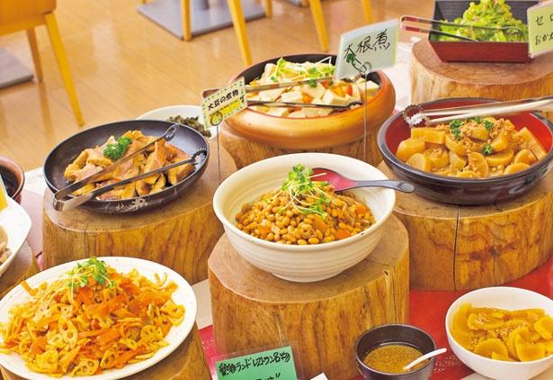 【写真を見る】野菜がしっかりとれる総菜が豊富にそろう/泉州やさいのビュッフェ&カフェ