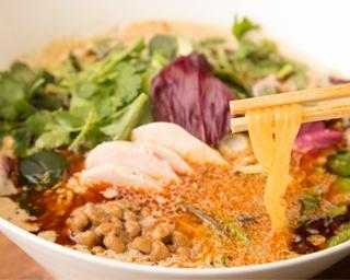 スープ越しに鮮やかなグリーン色の麺が見え、トッピングも彩りも良し。つい写真に撮りたくなる