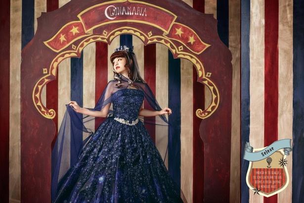 春奈るなプロデュースの最新ドレスが発表に。こちらは宇宙や月の女神をイメージした「Selene」