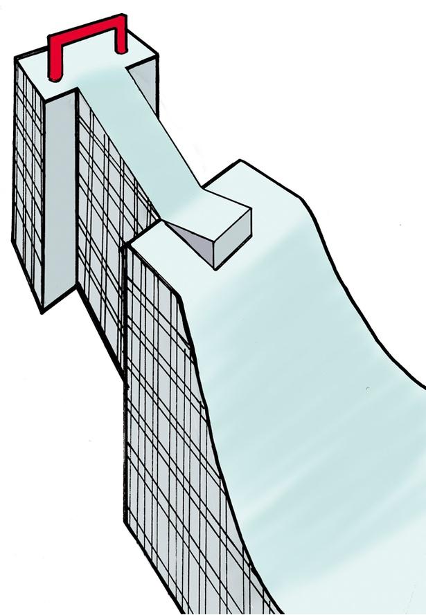 ビッグエアのジャンプ台。高さは約30メートル、助走部は長さ70メートル、斜度45度。