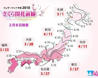 2018年版 桜の開花予想 第1回