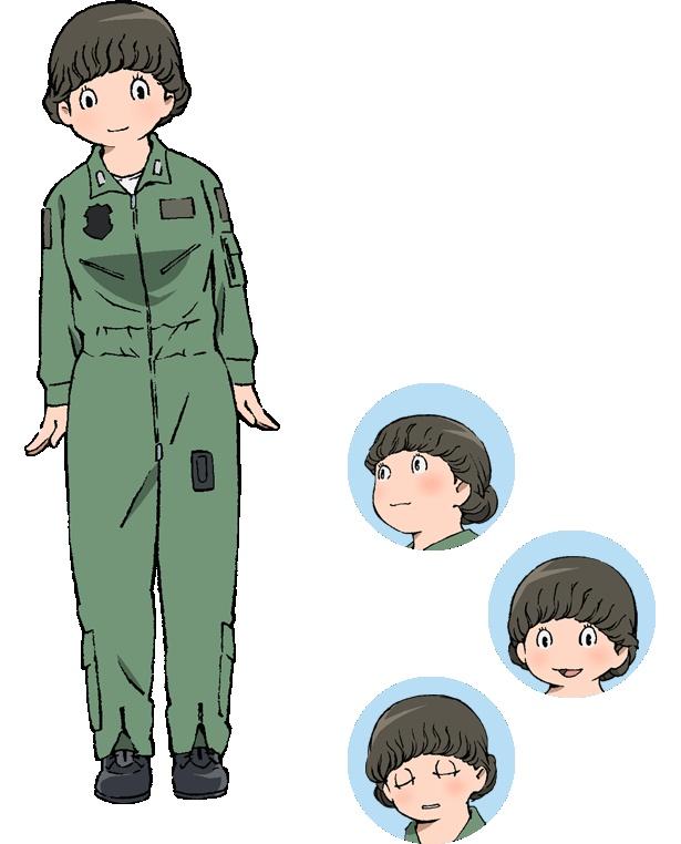 埼玉県入間基地のドラゴンパイロット・日登美真弓(CV:名塚佳織)。大きな身体でのんびりと気は優しく、いつも穏やかに笑みを浮かべている