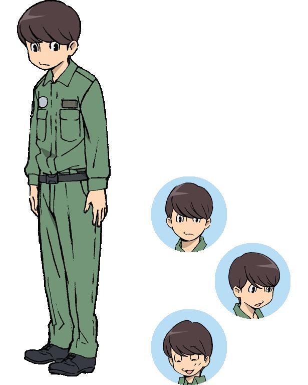 岐阜基地所属の整備員・小此木榛人(CV:梶裕貴)。ふわっとした穏やかなルックスで、押しの弱いところがあって、返事もあいまい