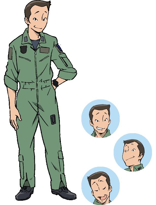 岐阜基地所属の戦闘機パイロット・財投豊(CV:徳本恭敏)。ひそねたちの上官にあたり、訓練など的確な指示を下す
