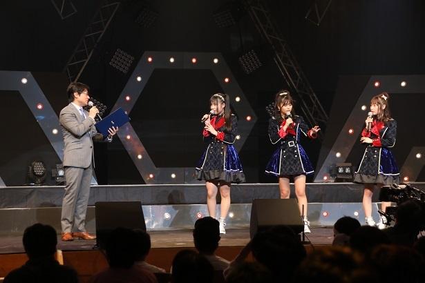 新潟に関するクイズに挑戦するSKE48メンバーたち(右から高柳明音、北野瑠華、北川愛乃)