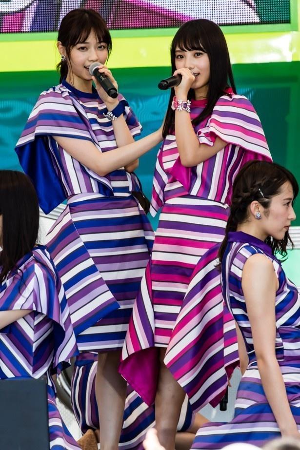 センターを多く務める1期生の西野七瀬と3期生ながらセンターも務めた与田祐希(写真左から)